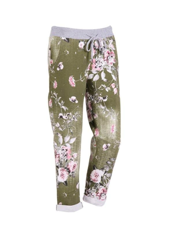 Italian Floral Print Cotton Trouser Olive Copy