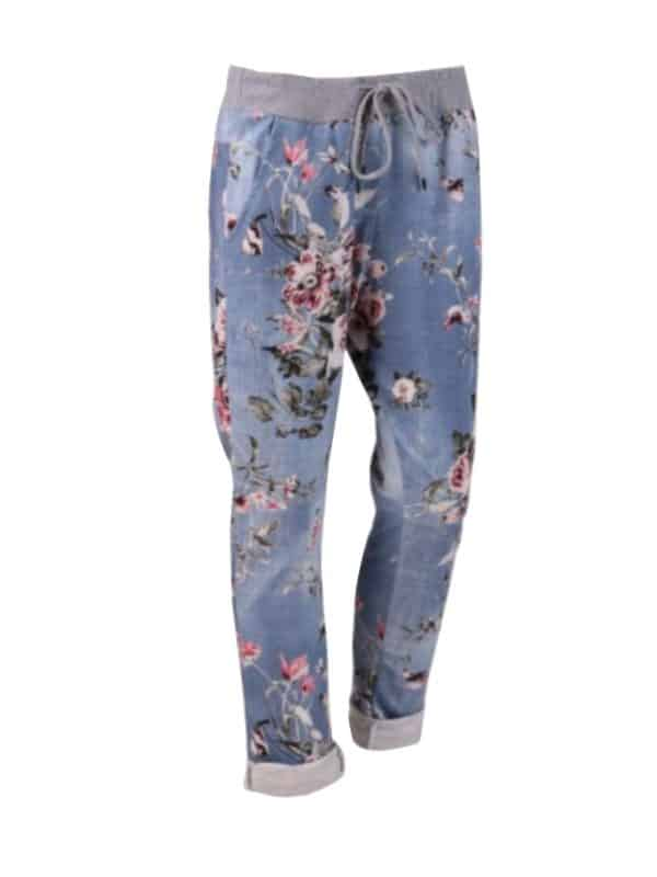 Italian Floral Print Ladies Trouser Denim 1 Copy