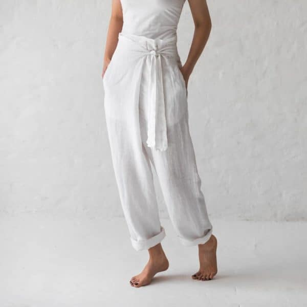 Linen Trousers White 001